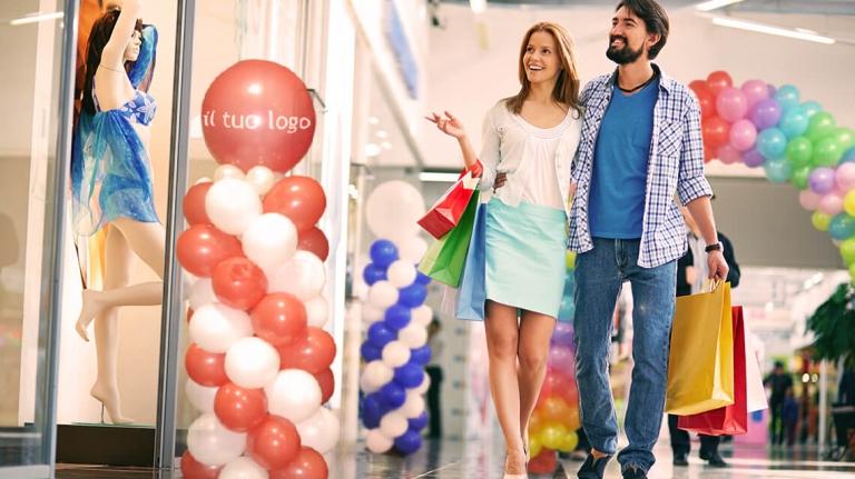 Palloncini per eventi in centro commerciale